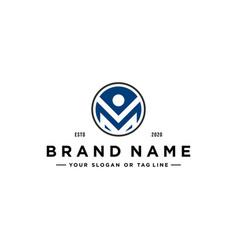 Letter m people logo design vector