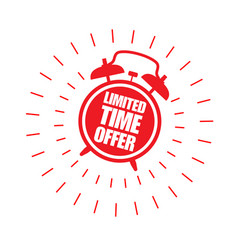 Limited time offer sticker with alarm clock vector