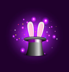 magic hat with rabbit ears on violet mysterious vector image
