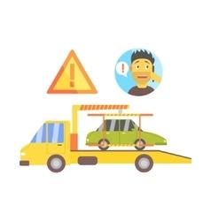 Man Calling And Truck Evacuating His Car vector