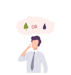 man trying to make decision environment or vector image