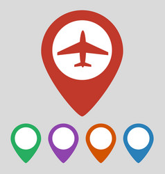 map pointer with airplane icon on grey background vector image