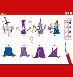 Match halves of pictures with wizards educational vector