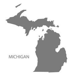Michigan usa map grey vector