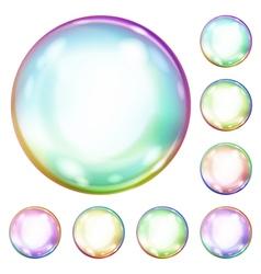 Multicolored opaque soap bubbles vector