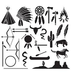 Native american icon set vector