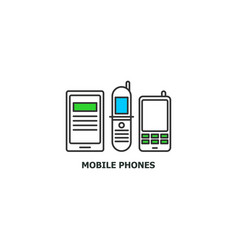 old mobile phones recycle concept icon in line vector image