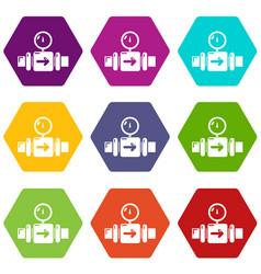 pressure sensor icons set 9 vector image
