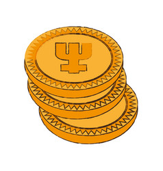 Primecoin cryptocurrency stack icon vector