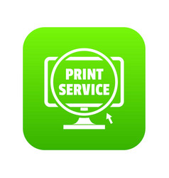 print service icon green vector image