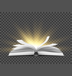 Realistic open book with fluttering pages vector