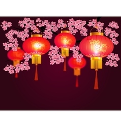 Red Chinese lanterns hanging in the park Sakura vector image