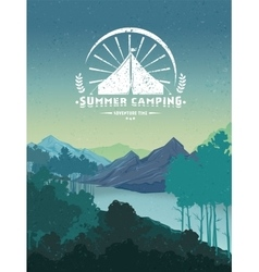 Retro Camping Colorful Poster vector