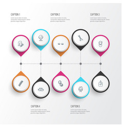 salon icons line style set with scissors lashes vector image