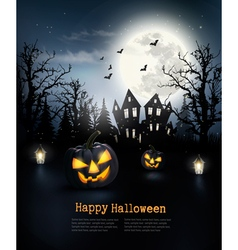 Scary Halloween background with pumpkins and moon vector