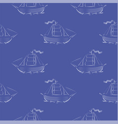 Sea ships silhouettes seamless pattern vector