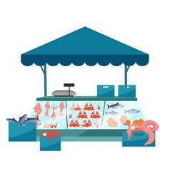 Seafood market stall flat fresh sea food in ice vector