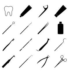 set of black dental icons vector image