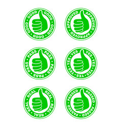 set of thumbs up stamps vector image