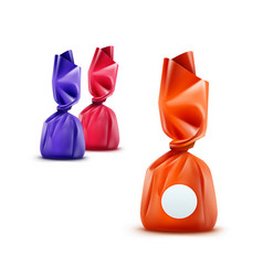 Set realistic chocolate candies in wrapper vector