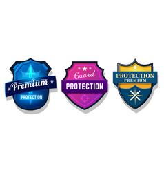 set shield protection web security safety sign vector image