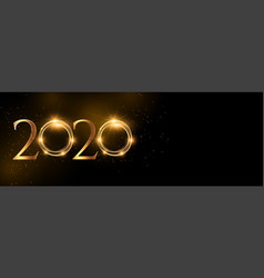 shiny 2020 happy new year golden wide banner vector image