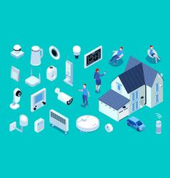 smart home isometric set vector image