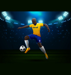 soccer player with field stadium background vector image