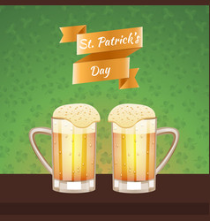 st patrick s day beer card vector image