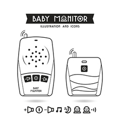 Stock of baby monitor and icons vector image