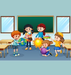 Students in classroom background vector