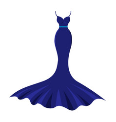 the long nice dark blue evening dress vector image