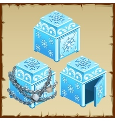 Three blue chest of ice open and closed vector