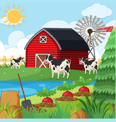 Three cows on the farm at daytime vector