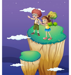 Two kids taking photos from the top vector image
