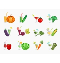Vegetable juice flat icons set vector image