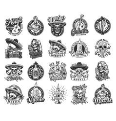 Vintage mexican day dead labels vector