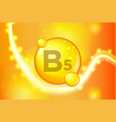 Vitamin b5 gold shining pill capsule icon vector