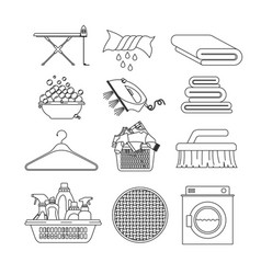 white background of contour set elements of vector image