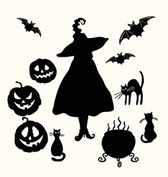 witch pumpkin lantern cat cauldron and bat vector image