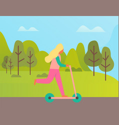Woman riding scooter outdoor green nature vector