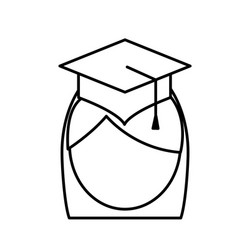 Woman with graduation cap icon vector