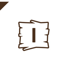 Wooden alphabet or font blocks with letter i vector