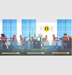 workplace desks with round yellow signs for social vector image