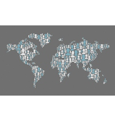 World map composed from many people silhouettes vector