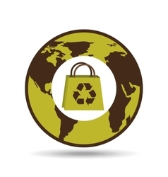 world recycling bag design graphic vector image