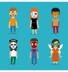 Children with painted faces vector image vector image