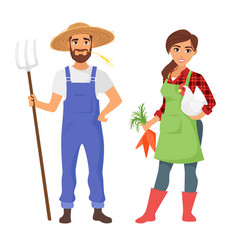 farmers man and woman character vector image