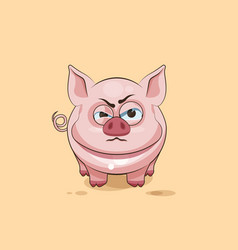 isolated Emoji character cartoon Pig sticker vector image vector image