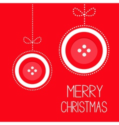 Two hanging red button merry Christmas ball vector image